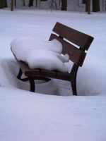 bench in snow by xxtasiaxx