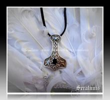 Thor's hammer with black onyx, handmade pendant by seralune