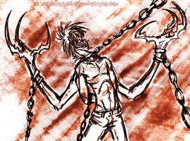 Chained down god by MutantParasiteX