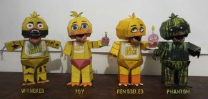five nights at freddy's Chica TimeLine Papercraft by Adogopaper