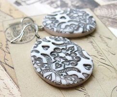 Clay Earrings Victorian Lace by SMAfactory