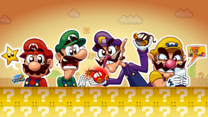 Super Mario Bros. - The four plumbers by MarkProductions