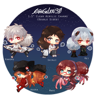 Evangelion 3.0 Clear Acrylic Charms by h-yde