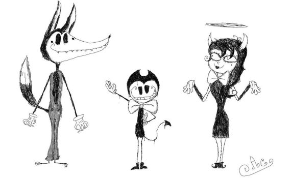 Tim burton style: Bendy and the ink machine by FluffySnowball13