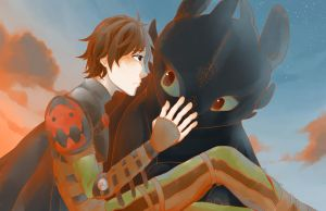 Hiccup and Toothless by lemonokashi