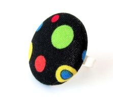 Large black ring - bright funky dots red blue by KooKooCraft