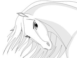 Horse mare lineart: paint by Aniutqa2