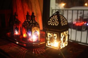 Boho Decor Lanterns n Candles During The Blizzard2 by BlackUniGryphon