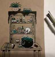 Inktober 8th - Potions Pantry by Miss-Melis