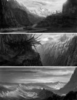 b-w environment paintings 4-5-6 by Lyno3ghe