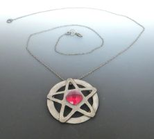 Dresden Pentacle with Ruby Colored Corundum Center by Peaceofshine