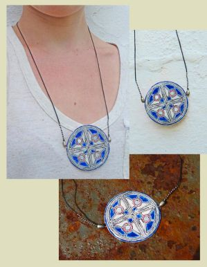 White and Blue Round Handcrafted Necklace by FragmentsOfMyrh