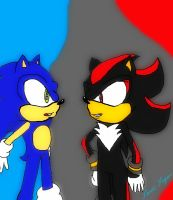 Sonic and Shadow Request from*sonicgal17 by LukeVei-Da-Hedgehog