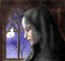 Nun in moonlight by dashinvaine