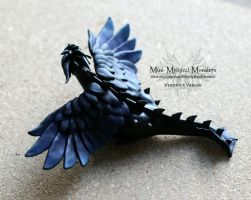 Crow Dragon, Polymer Clay by MiniMythicalMonsters