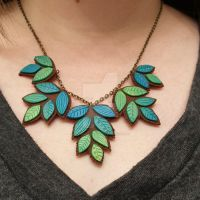 Ombre Leaf Necklace by StarfallAtDusk