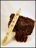 Sold - Bookmark-Wood-Pyrography-Abstract Flower A by SuniMam
