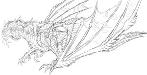 Smaug's body design sketch by Ghostwalker2061