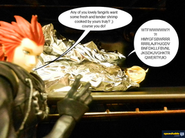 Axel cooking the Shrimp by Miss-Sweetlivvy