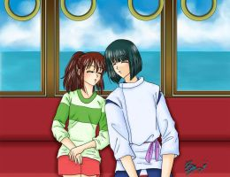 Spirited Away: on the train by einx3