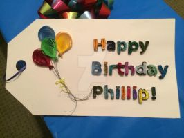 Paper Quilling Birthday Gift Tag by wholedwarf