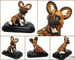 African Wild Dog Sculpture by LeiliaClay