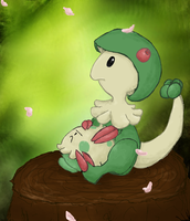 Shroomish Breloom Duo in Forest by razzberridust