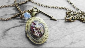 Amethyst Opal Oval Glass Cabochon Locket Necklace by crystaland