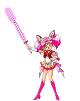 Sailor Mini Moon with her Lightsaber by darthraner83