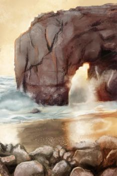 Digital painting training - Rocks and beach by AutomneBlue