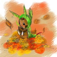Chespin in the Fall by dsawvaindn
