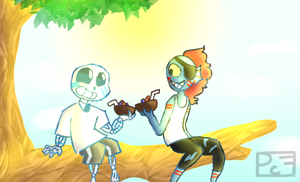 Sans And Undyne (AU? i think) by PixelCatsForever