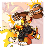 Commission - Molten Bowser and Super Kong by JamesmanTheRegenold