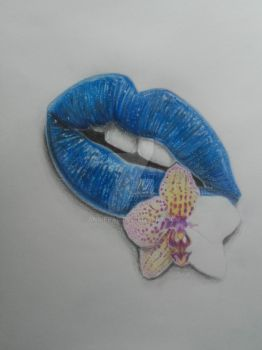 Blue lips with Orchid in-progress by AnniePad