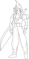 Cloud Strife - Line Art Edit by Age-Solo