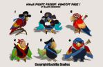 Pirate Ninja Parrot Concepts by pinkhavok