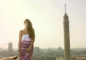modeling infront of cairo tower by lilipads