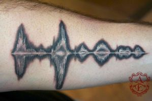 Inverted Sound Wave Tattoo done by Sean Ambrose by seanspoison