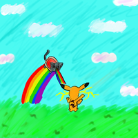 .:Request:. Nyancat VS. Pikachu by Sparkheart1