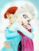 Elsa and Anna hug- Watercolor by julesrizz