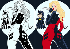Harley Quinn Lines and Flats by lellojello