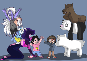 we bare bears and steven universe cross over by Ribbonthecat