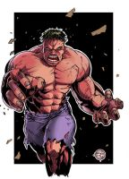 Red Hulk sketch card by Carl-Riley-Art
