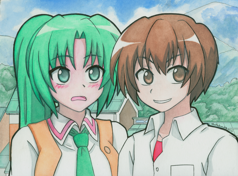 Mion and Keiichi by ShuffledYandere