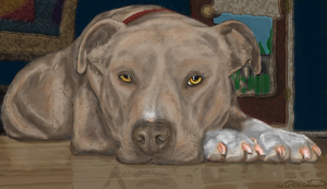 Liver Pit Bull Resting Head On Paws by DragonFyreStudio