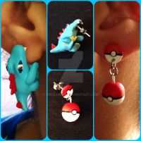 Mismatched Crunch Time Tiny Totodile Earrings by Arcillista