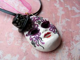 Violet Venetian Mask Necklace by Stripedy