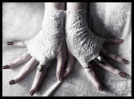 Frost Blossom Lace Fingerless Gloves by ZenAndCoffee