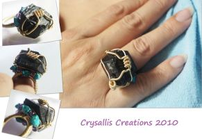 Caged Black Tourmaline Ring by CrysallisCreations