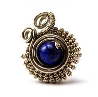 Wire Wrapped Steampunk Ring with Lapis Lazuli by hyppiechic